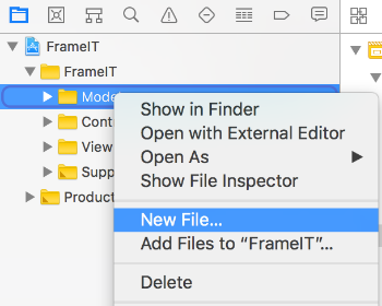 Create new file in Model folder