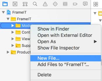 Create new file in Model folder