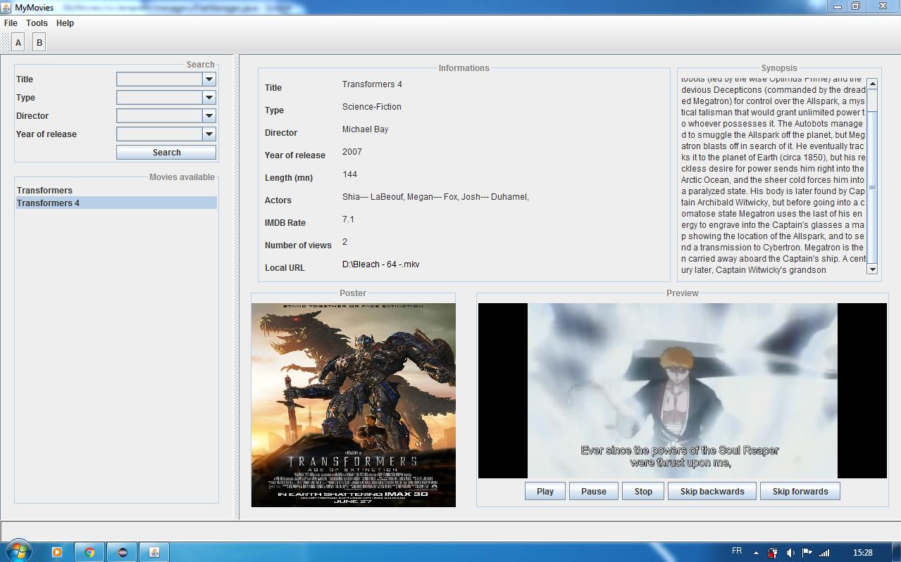 Application JAVA] MyMovies par SbStorM - OpenClassrooms