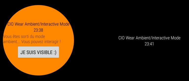 Résultat du code précédent: ambient vs interactif