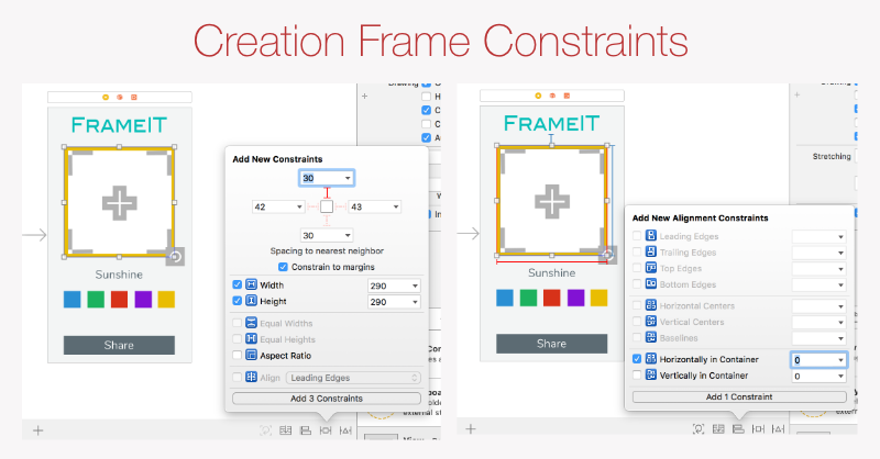 Creation Frame constraints