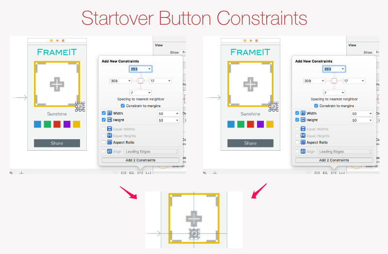 Starover Button initial constraints