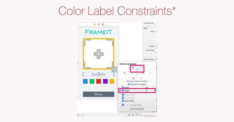 Color Label initial constraints