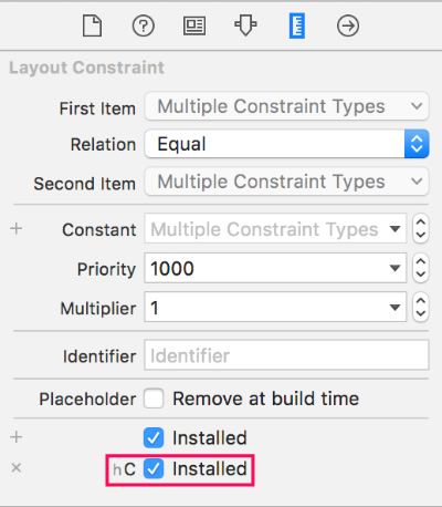 Variation added to existing constraints