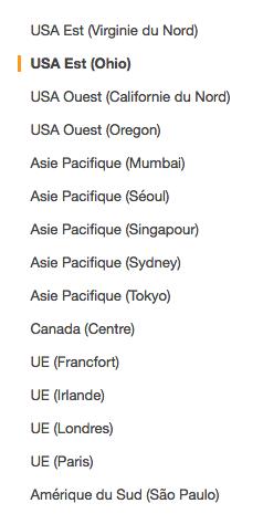 Choix d'une région AWS