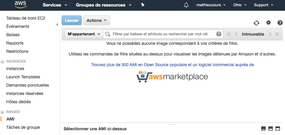 La liste de vos images serveurs (AMI)