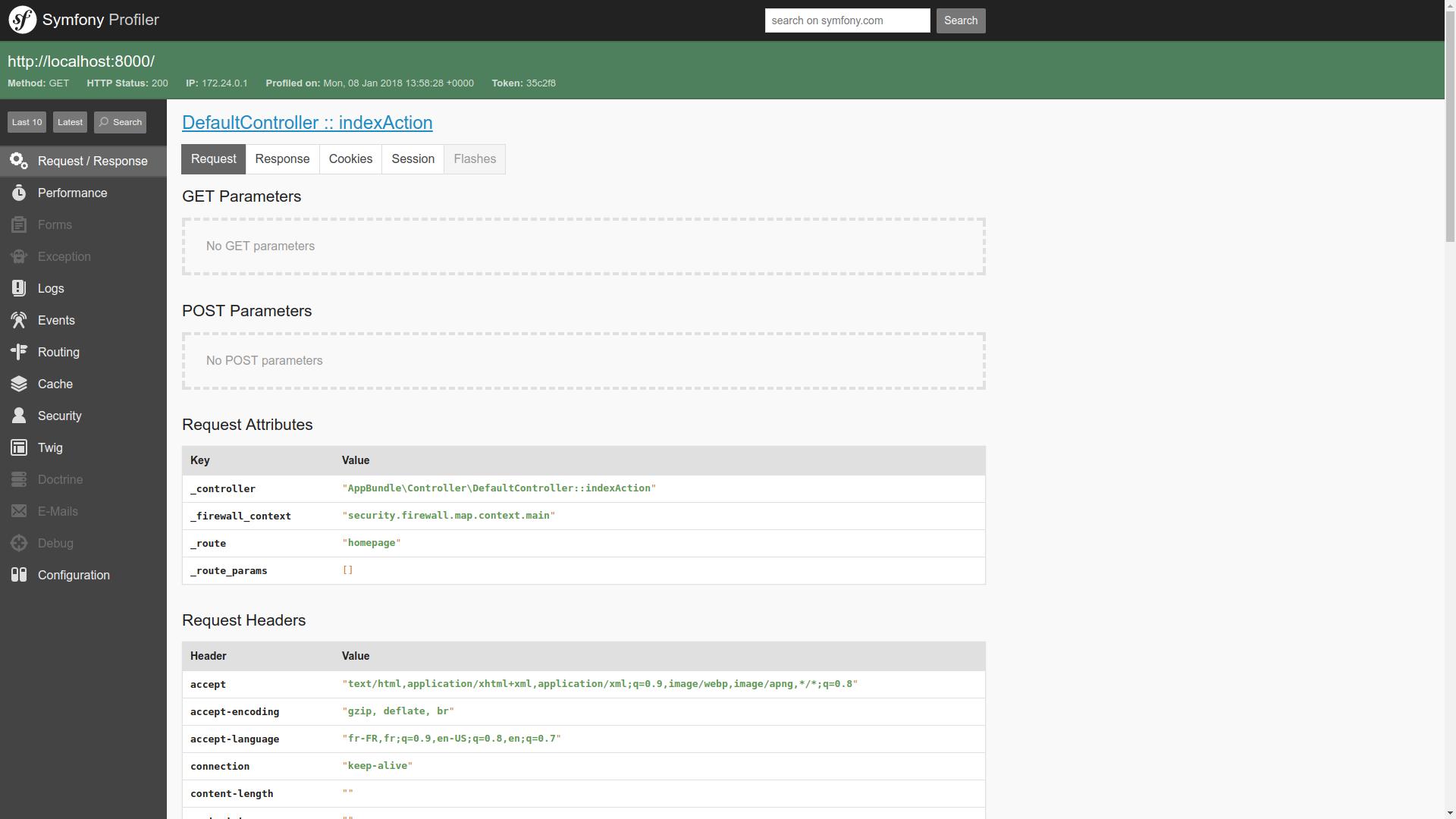 Le Web Profiler est composé de nombreux onglets utiles pour le deboggage de votre application