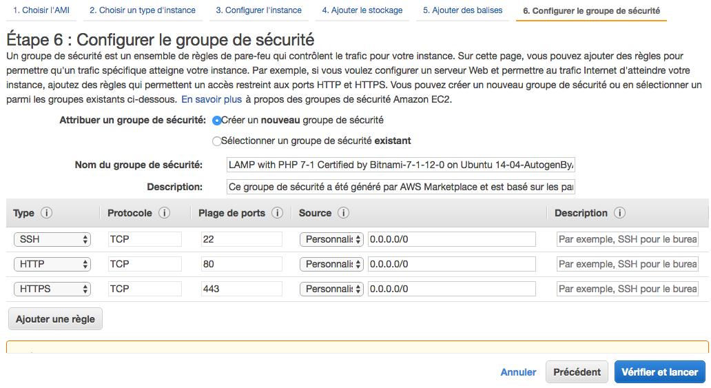 Configuration du groupe de sécurité (firewall)