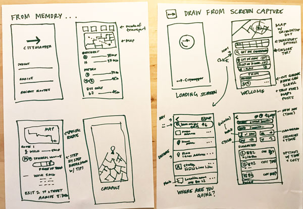 Left sketch is the app screen from memory, on the right are the actual screens.