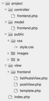 Le code est regroupé par sections. Pour l'instant, nous avons une seule section : frontend