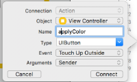 Create Color button action