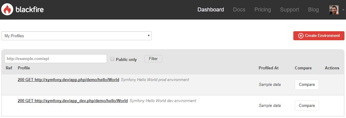 Cette capture montre l'interface qui liste les profils Blackfire.io après création de compte