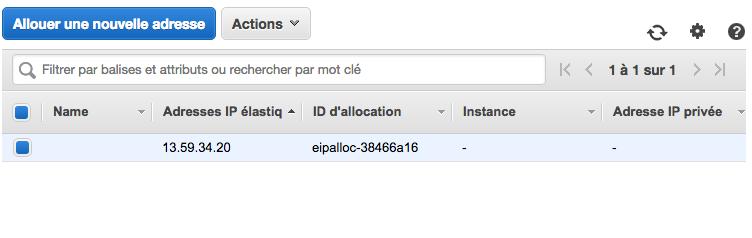 L'IP n'est pas associée à une instance