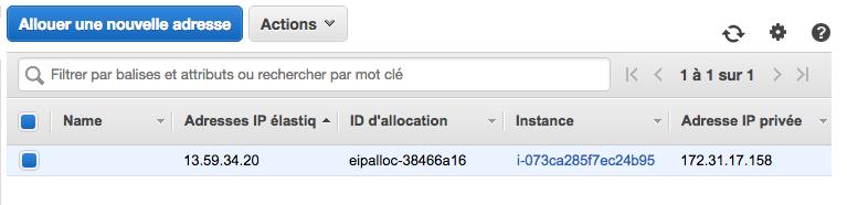 Notre IP Elastic a été associée à une instance