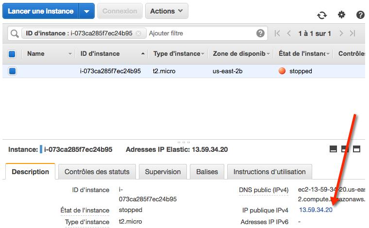 On peut cliquer sur l'IP de l'instance pour se rendre à la configuration des IP Elastic