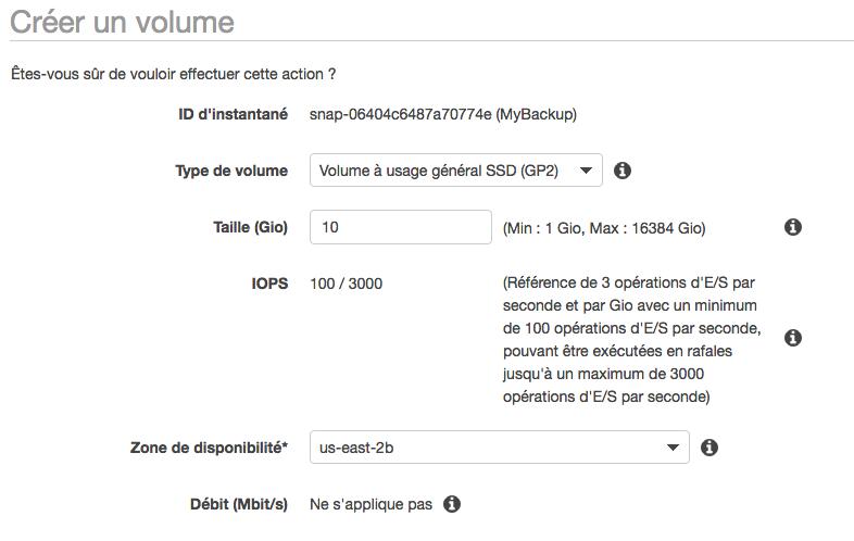 Création du volume EBS à partir de l'instantané
