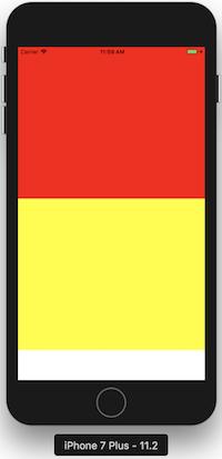 Vue jaune sans style flex ni height, dépendant entièrement de la taille de ses components enfants