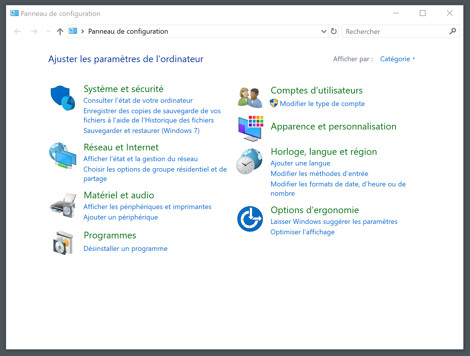 Panneau de configuration Windows