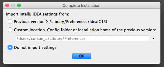 Écran d'importation d'une précédente version d'IntelliJ