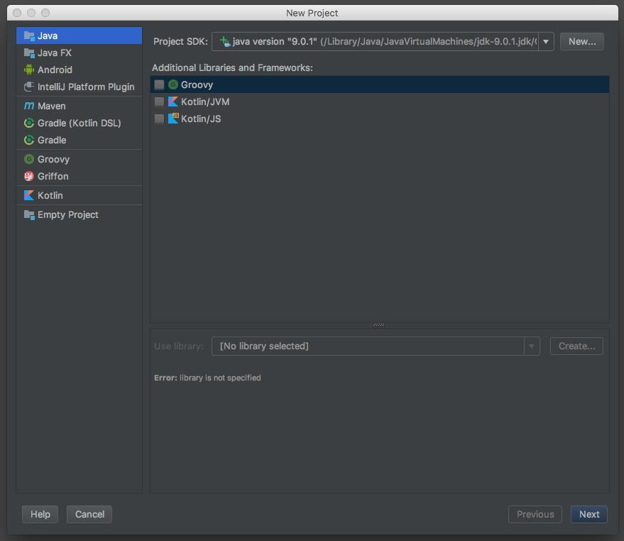 Ecran de configuration de projet avec IntelliJ