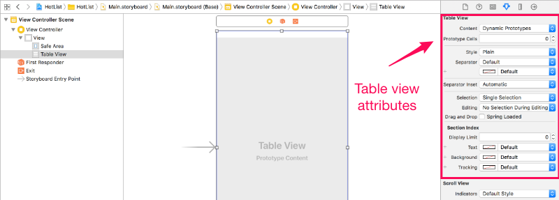 Table view attributes
