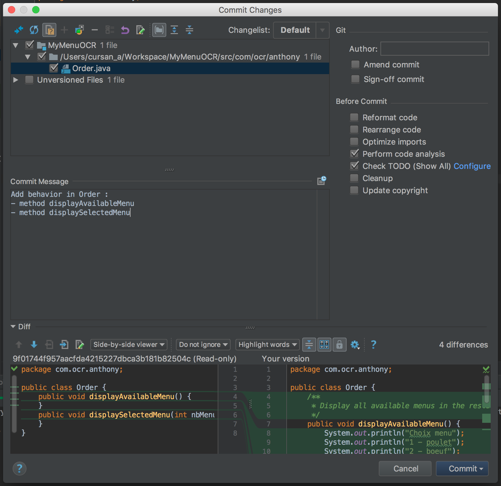 Commit depuis IntelliJ