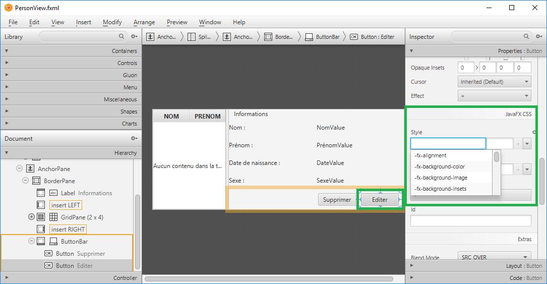 SceneBuilder liste les propriétés CSS des composants