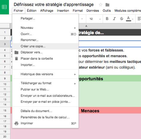 Capture d'écran indiquant comment créer sa propre copie de l'outil