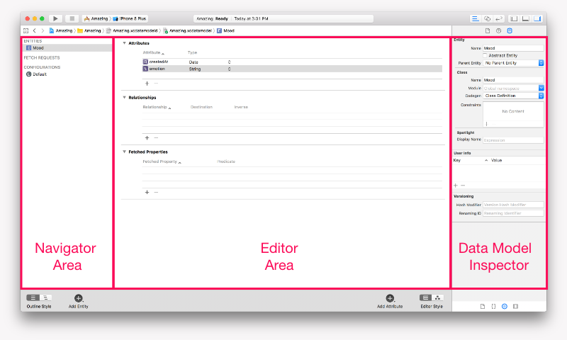 Xcode Data Model navigation