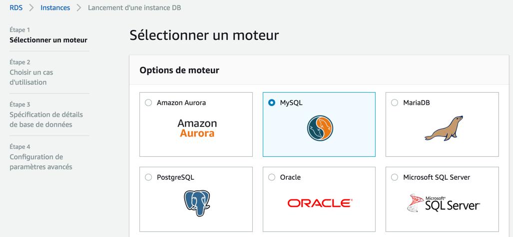 Choisissez le moteur de base de données qui sera installé sur l'instance RDS
