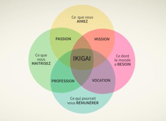 Le schéma Ikigai qui indique les 4 composants d'un projet d'orientation idéal