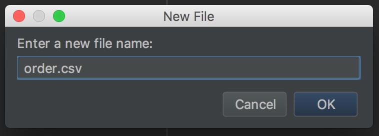Fichier nommé order.csv