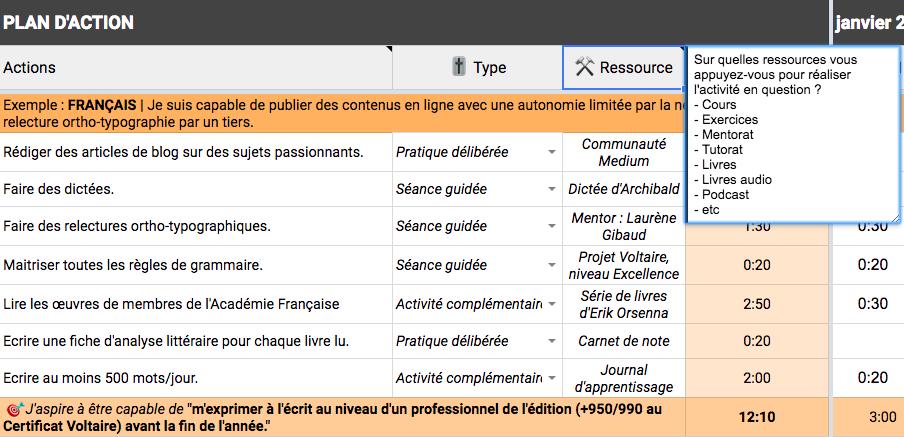 Capture d'écran du plan d'apprentissage personnalisé avec la colonne