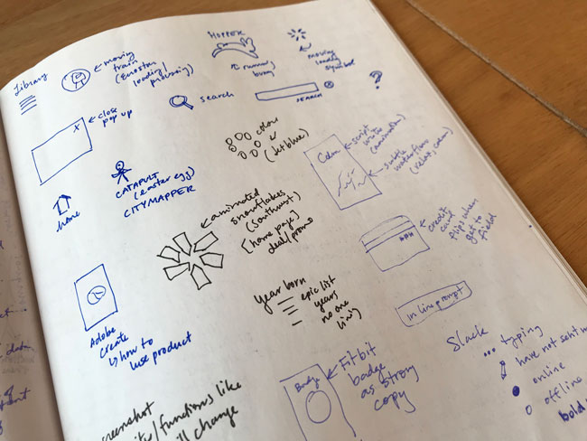 Page of sketchbook with inspiration for microinteractions – little icons and text to explain.