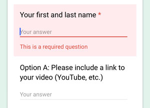 The red box and asterisk on the Google Form field shows which text is required.