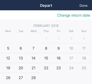 Calendar screenshot from Trainline makes it impossible to book a departure before the arrival.