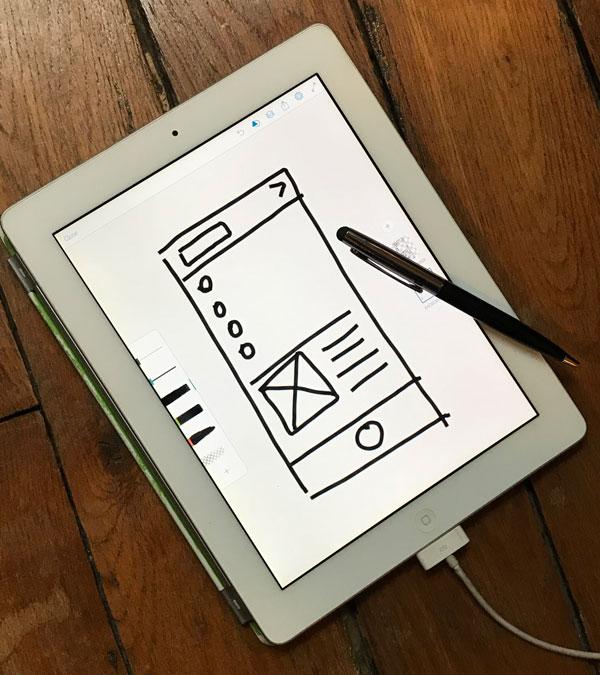 Wireframe drawn on an iPad using a stylus.