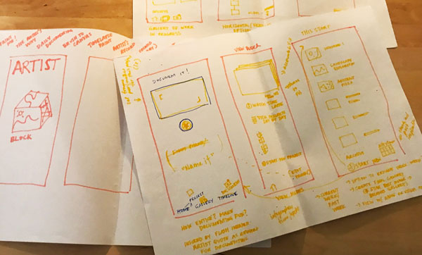 Messy sketches of app concept.
