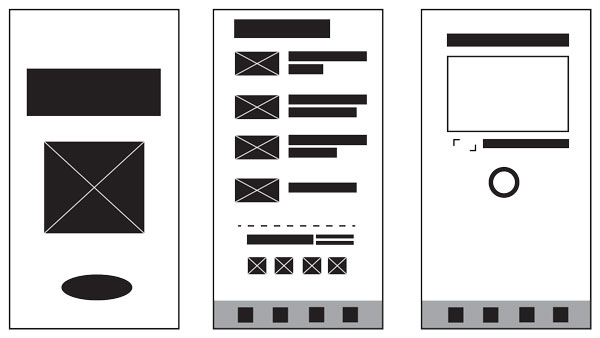 Black and white simple digital wireframes.