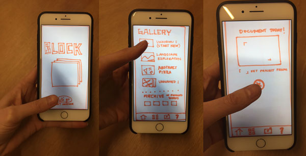 Three screens of a digital prototype using marker sketches.
