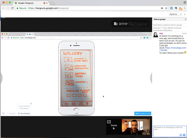 Screenshot of a Google Hangout to test the app.