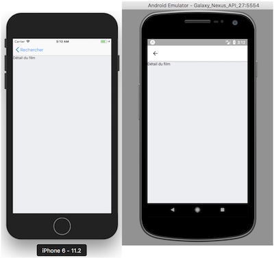Naviguer sur la vue FilmDetail sur iOS et Android