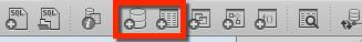 Les boutons de la barre d'outils nous permettent de créer de nouvelles bases et tables