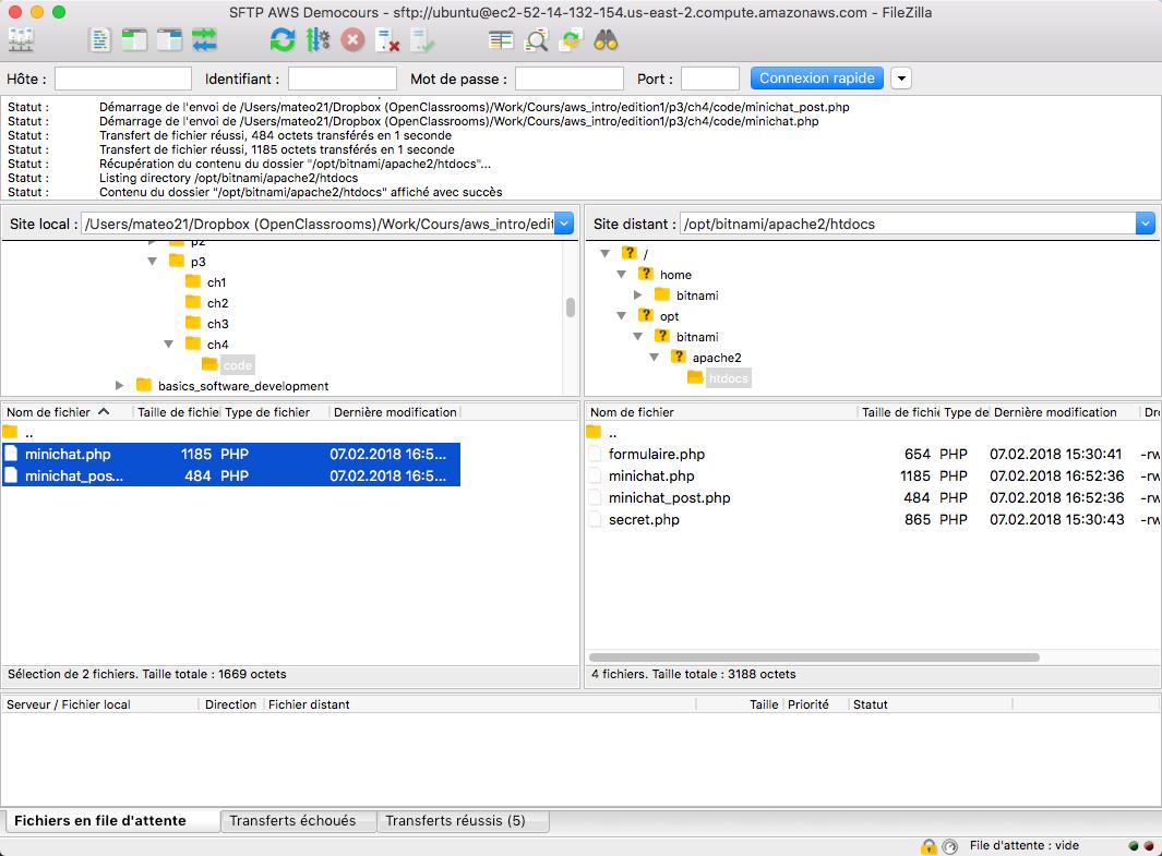 Envoyez les fichiers du minichat par SFTP