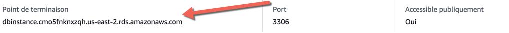 Si vous cliquez sur votre instance RDS, vous pouvez retrouver son point de terminaison (nom d'hôte)