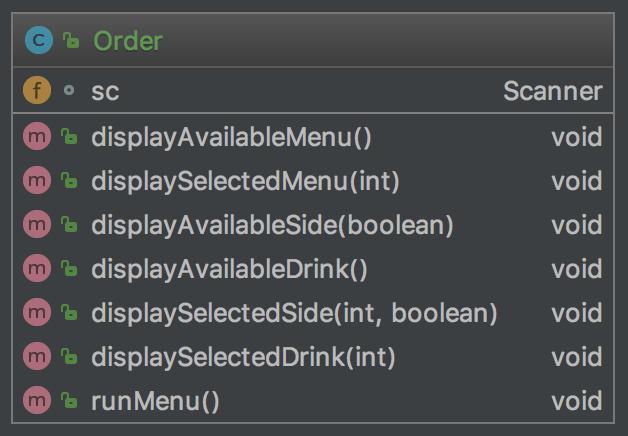 UML Order avec side et drink