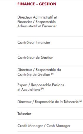 Métiers 'finance et Gestion' Directeur Administratif et Financier Contrôleur Financier Contrôleur de Gestion Responsable du Contrôle de Gestion Responsable Fusions et Acquisitions Responsable de la Trésorerie Trésorier Credit manager