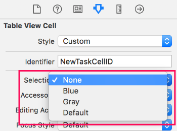Configuring cell selection visualization