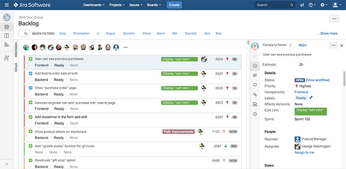 Screen inside of the software JIRA which involves multiple people collaborating on a project.