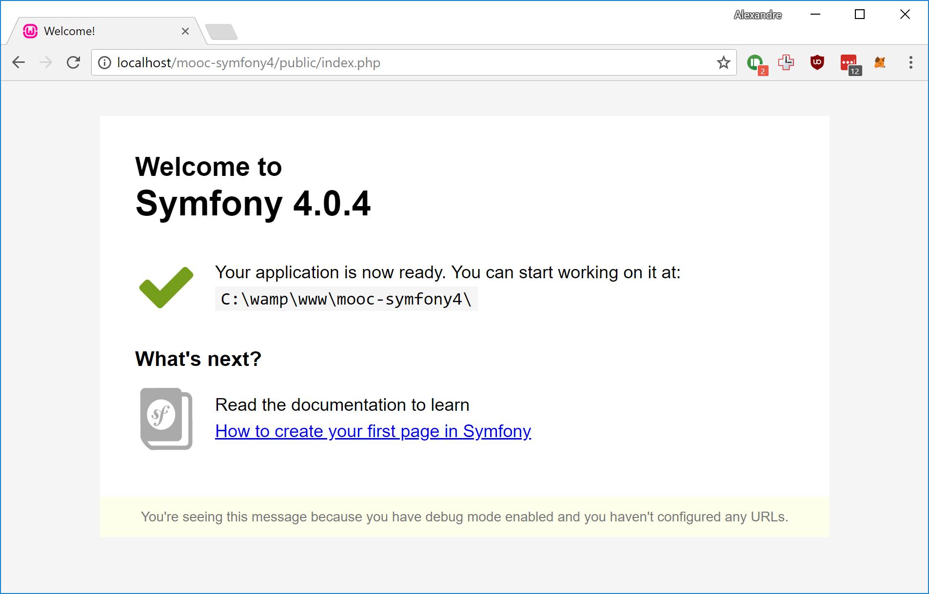 La page d'accueil de Symfony